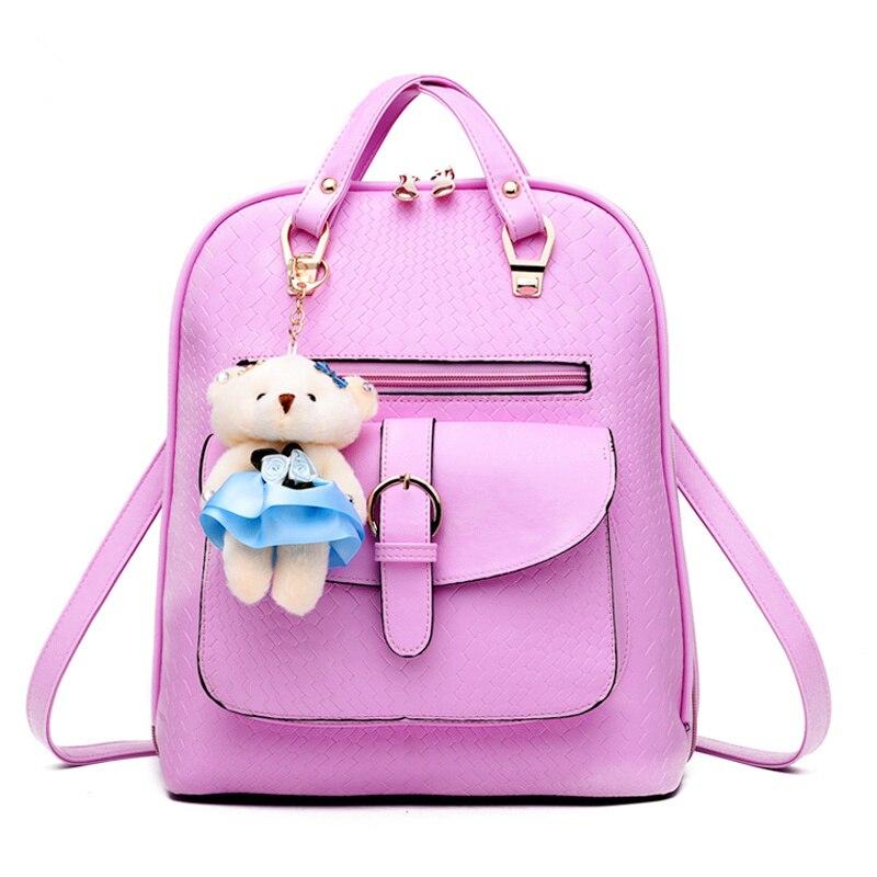 PU Casual Traveling Pratical Elegant Women Girl's Backpack Bag Students' Schoolbag Pink fashion traveling pratical elegant fuchsia pu women girl s backpack bag students schoolbag