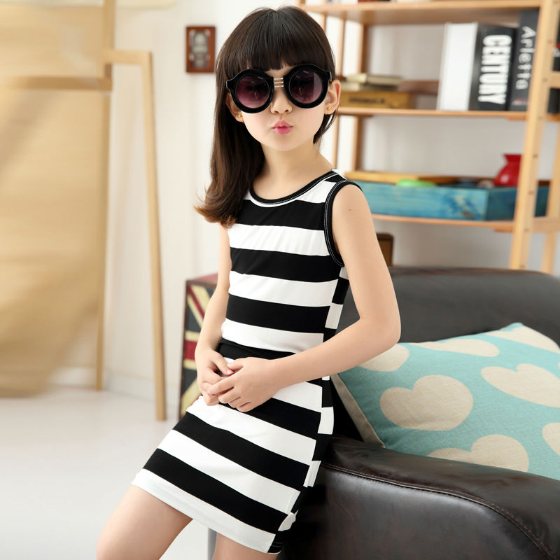 Children-Girls-Clothing-Black-And-White-Stripes-Summer-Girl-Dress-100-Cotton-3-14-Years-Kids