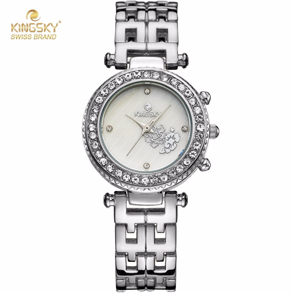 KINGSKY Fashion Women Watches Silver Alloy Band Rhinestone Case Unique Design Dial Japan Quartz Movement Wristwatch 2017 New feifan brand watches fashion sport watches for women new arrival 2016 high quality quartz watches japan movement case fp135