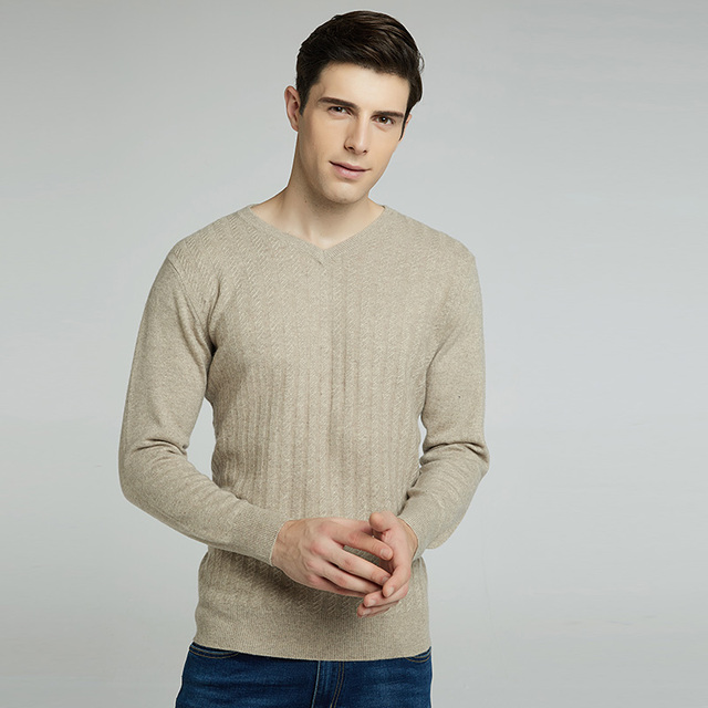 2017 Winter Mens Cashmere Sweater Thick Warm V-neck Solid Color Sweater Men Slim Fit Pullover Knitted   Sweaters
