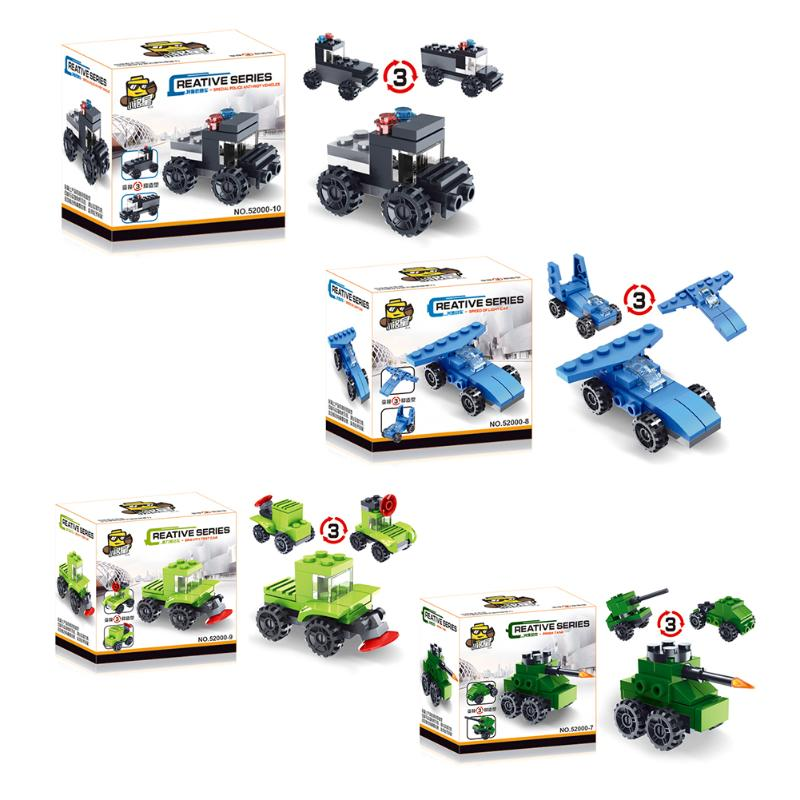 3 In 1 Kids Car Blocks Toys Children Deformation Car Toys Boys Transformation Truck Cars Models Toy Assembled Blocks Toy Gifts
