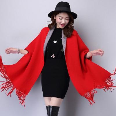 SC2 большой шарф Зимний вязаный пончо женский однотонный дизайнерский плащ женский длинный рукав летучая мышь пальто винтажная шаль - Цвет: Red With Grey
