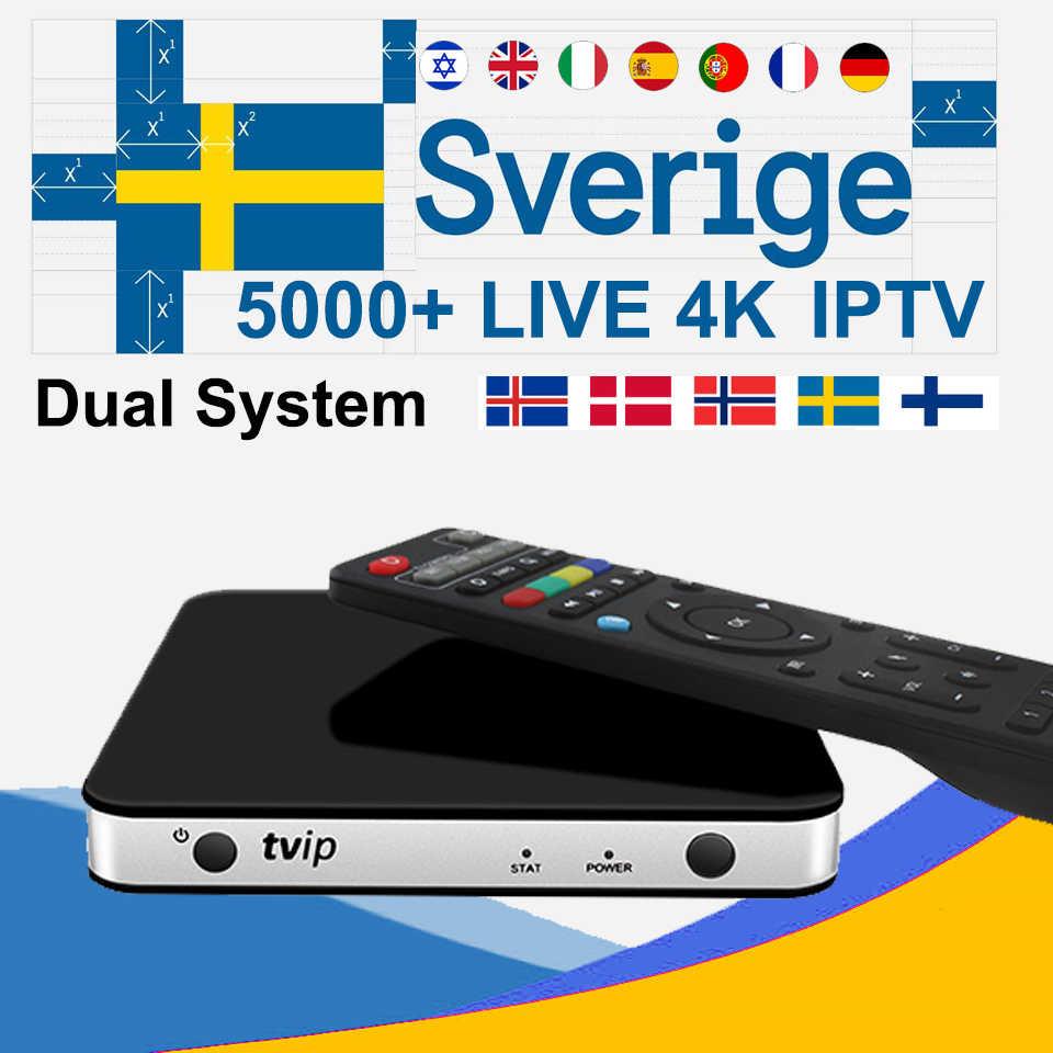 TVIP605 Android Box Linux Smart TV Nordic Sweden Norway Israel UK France 6/12 Months IPTV Subscription 4800+ Channels KO Mag 25X
