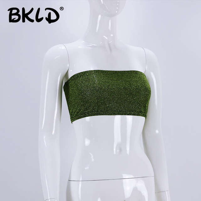 44a7c329a8cde Online Shop BKLD 2018 Summer New Fashion Women Sexy Bling Tube Tops  Strapless Bra Wrapped Chest Tops Female Clubwear Party Tops Green Colors