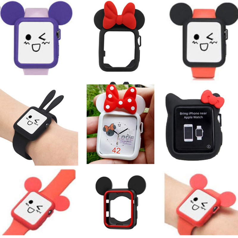 Minnie Watch Watchbands Soft Case For iWatch Series 123 Cover For Apple Watch 38mm 42mm Cute Mickey Mouse Ears and Rabbit Ears 12pcs hair accessories mickey minnie mouse ears solid black sequins headbands headwear for boy girl birthday party celebration
