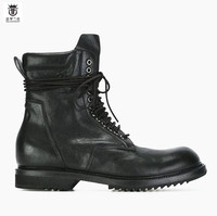 2018 FR LANCELOT Western Boots Lace Up Cow Leather Boots Men Riding Boots Low Heel Zip