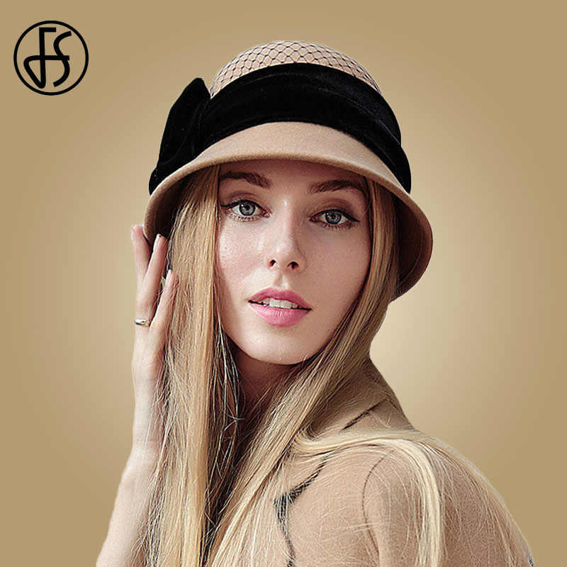 5d475d45f335d Detail Feedback Questions about FS Winter Wool Hat For Women Fedora Vintage  100% Felt Hats With Handmade Bow Ladies Cloche Bowler Church Hats Chapeau  Femme ...