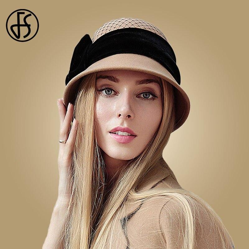 FS invierno sombrero de lana para las mujeres Fedora Vintage 100% sombreros  de fieltro con hecho a mano arco señoras sombrero Bowler sombreros de  Iglesia ... 1d7f8d752b3