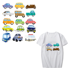 Iron-on Transfers Cartoon Car Patch Set Children Washable Stickers for Clothing DIY T-Shirt Dresses Heat Transfer Vinyl Patches