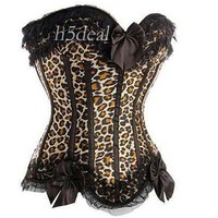 2015 Sexy Leopard Grain Sexy Brocade Gorgeous S M L XL Sizes Satin Lace Up Corset