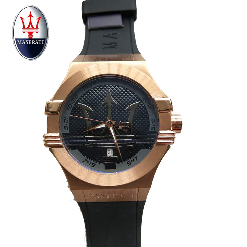 Maserati Quartz Men's Waterproof Watch Automatic Large Dial Black Rubber Strap Fashion Casual Military Clock Male creative rotation dial black rubber band strap men quartz wrist watch fashion business style turntabble pattern women male watch