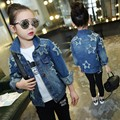 Children Clothing Spring Long Sleeve Star Patched Teenage Girls Denim Jacket Kids Girls Outerwear Coat Children Outerwear Jeans