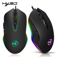 HXSJ Gaming Mouse USB Wired Mouse 6 Buttons 200-4800DPI Optical USB Wired Desktop Mice RGB Backlit For game player