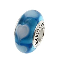 6mm Pandora Bead 925 Sterling Silver Heart Murano Glass Beads DIY Jewelry Charm Bracelet Best Friendship