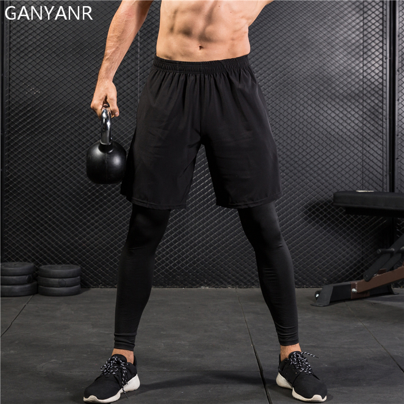 73d21212fc6e4 GANYANR Running Tights Men Yoga Basketball Compression Pants Athletic  Leggings Sport Skins Training quick dry 2 in 1 Gym Fitness