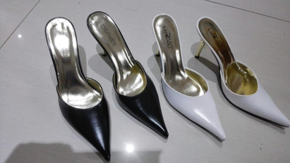 2015 Summer Sexy High Heels Mules Womens Shoes Black