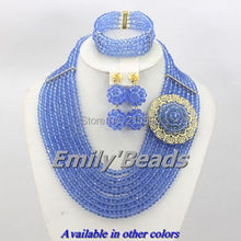 2014 New Design Blue Nigerian Wedding Crystal Beads Sets Fashion African Jewelry Sets Bridal Necklace Sets Free Shipping AES435