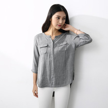 Ladies 2017 New Spring Summer Shirts Three Quarter Sleeve Female Korean Tops Solid Casual Clothing V-neck Blouses For Women
