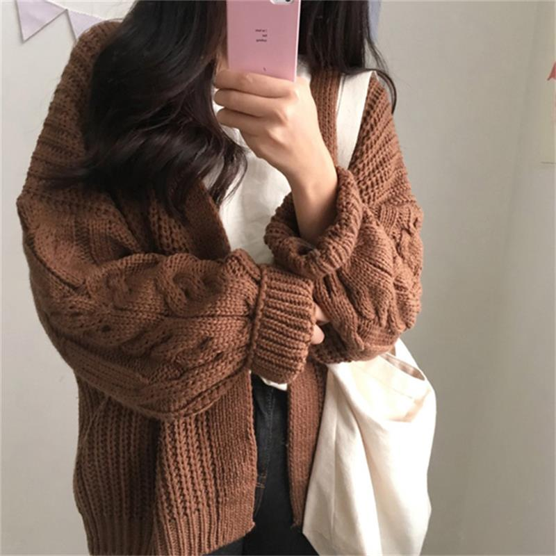 Chic Loose Long Sleeve Twist Sweater Thick Women's Sweaters Lady Cute Kawaii Female Vintage Harajuku Ulzzang Jumper For Women