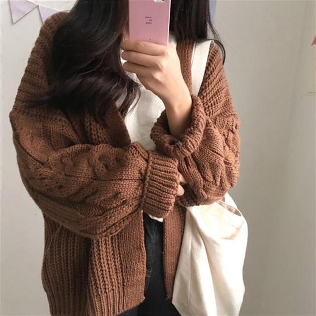 891f8439f5d5b Chic Loose Long Sleeve Twist Sweater Thick Women's Sweaters Lady Cute  Kawaii Female Vintage Harajuku Ulzzang Jumper For Women