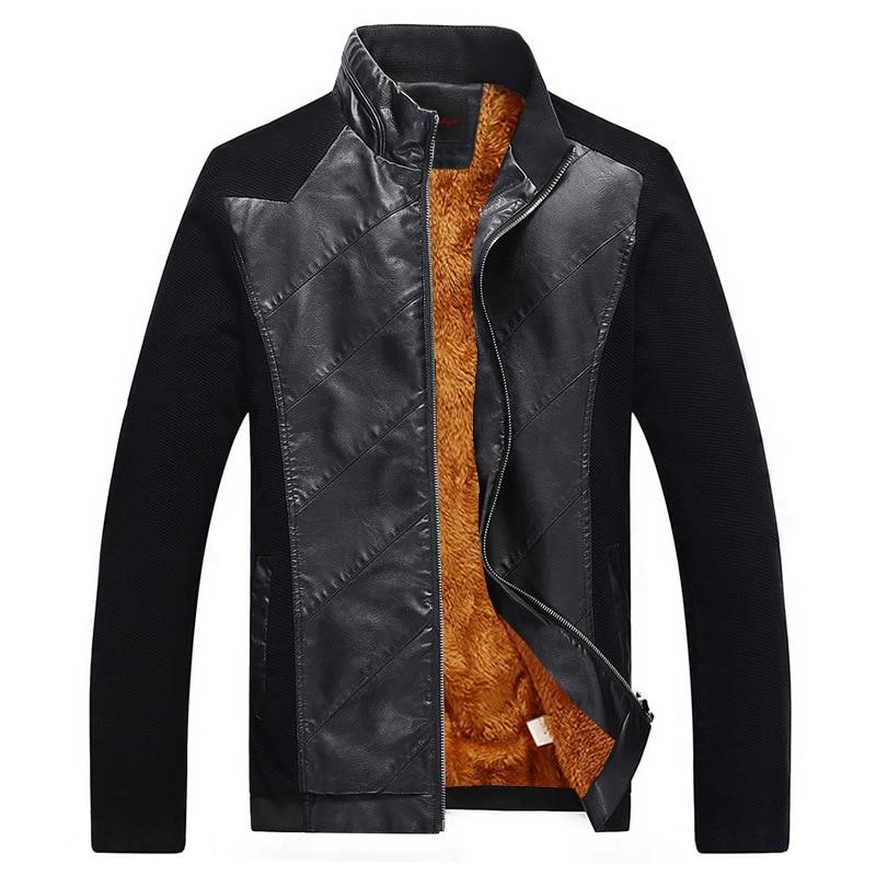 2017 Top qualité printemps et automne homme Patchwork veste en cuir marque Design mode hommes veste en cuir moto grande taille M-5xl