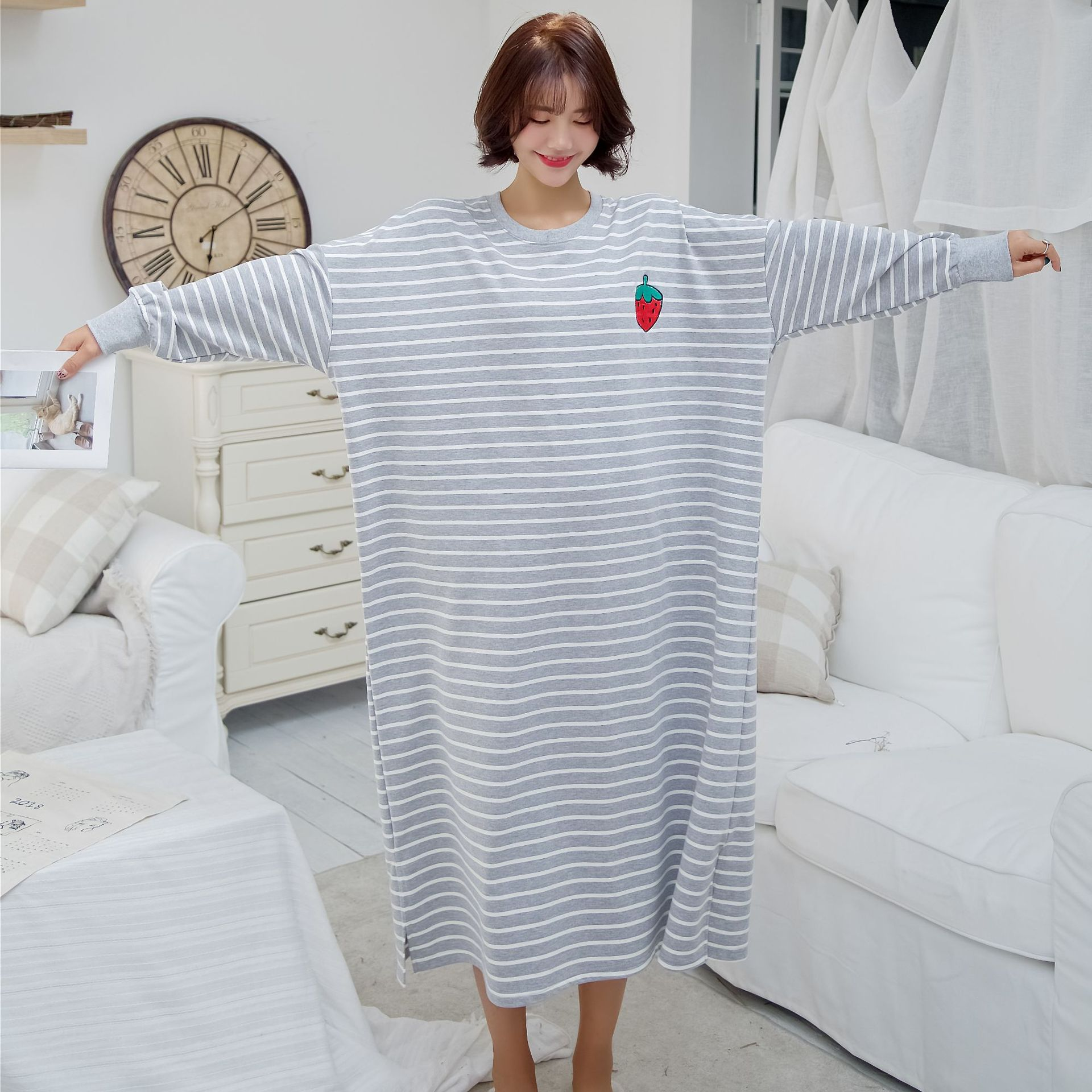 2019 new cotton material   Nightgowns   &   Sleepshirts   Sleepwear Plus Size Long   Nightgowns   416