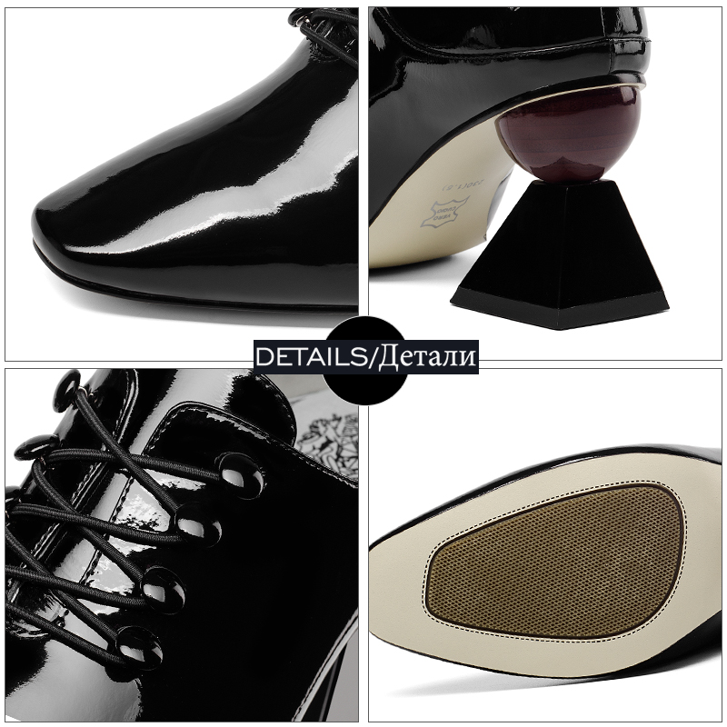 ISNOM Patent Leather Women Pumps Square Toe Cross Tied Footwear Unusual High Heels Ladies Shoes Fashion Mules Shoes Woman 2019
