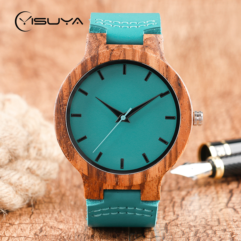 YISUYA Fashion Blue Wood Quartz Watch Analog Genuine Leather Band New Arrival Handmade Wooden Wristwatch for Men Women Creative creative rectangle dial wood watch natural handmade light bamboo fashion men women casual quartz wristwatch genuine leather gift