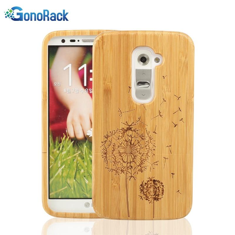GonoRack Natural Bamboo Wood Case For Celular LG G2 Case Handmade Luxury Laser Hard Back Cover Case For LG G2 Mobile Phone Bags