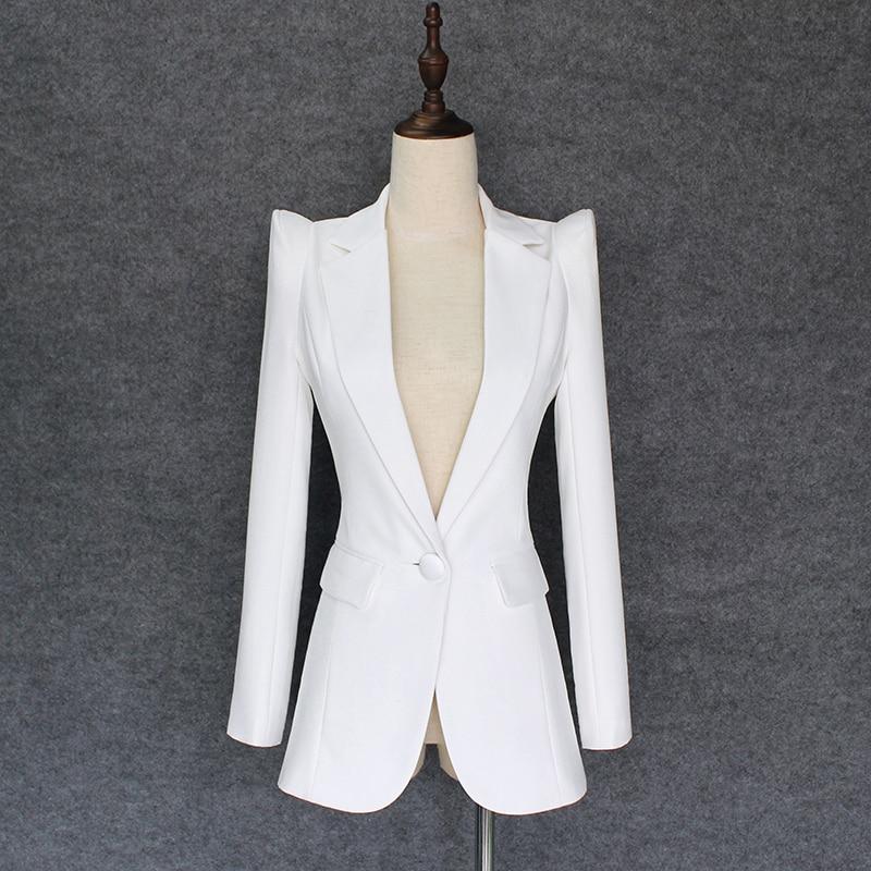 HIGH QUALITY New Fashion 2019 Designer Blazer Jacket Women s Soaring Shoulders Single Button Blazer Outer