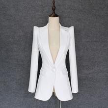 جودة عالية موضة جديدة 2020 مصمم سترة المرأة ارتفاع الكتفين زر واحد السترة لباس خارجي