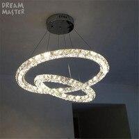 Modern 2 rings LED crystal chandeliers lights three sides restaurant 2 circles diamond home lighting decorativas para sala lamp