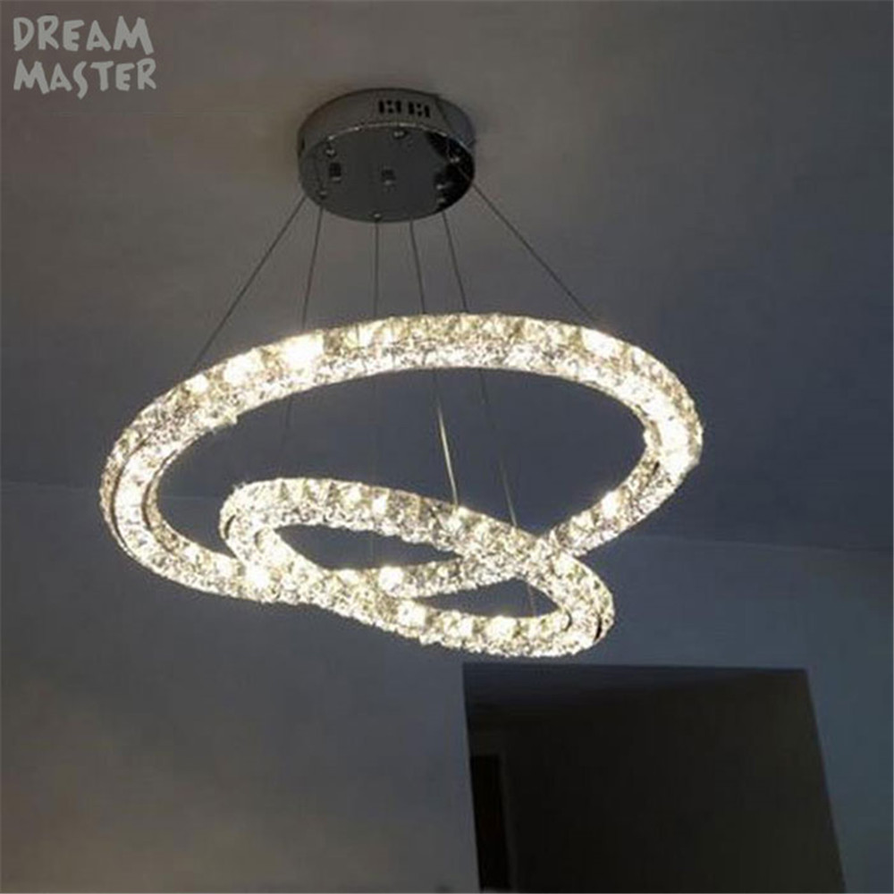 Modern 2 rings led crystal chandeliers lights three sides restaurant modern 2 rings led crystal chandeliers lights three sides restaurant 2 circles diamond home lighting decorativas para sala lamp in chandeliers from lights arubaitofo Gallery