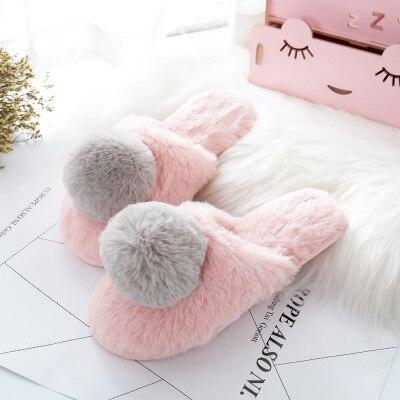 Домашняя обувь с большим мехом; тапочки; сезон осень-зима; новые стильные тапочки для девочек; теплые хлопковые тапочки; милая обувь принцессы; размеры 36-41 - Цвет: Розовый