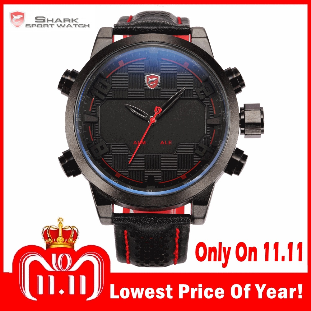Sawback Angel Shark Sport Watch LED Black Red Stainless Steel Case Digital Dual Movement Leather Mens Waterproof Watches /SH203 sawback angel shark sport watch mens black yellow digital dual movement 3d logo steel case led watches leather wristwatch sh204