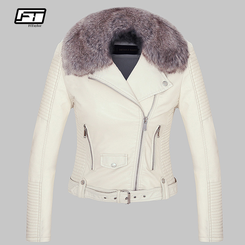 Fitaylor Women Winter Warm Faux   Leather   Jacket Coat With Fur Collar Female Pink Pu Motorcycle Jacket Biker Punk Black Outerwear