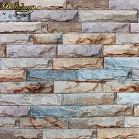 10M Stone Wall Textured Feature Wallpaper Roll Tv Background Papel De Parede Vintage Stone Brick Wall