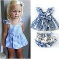 Лето малышей комплектов одежды младенца дети оборками и с бантом пояса топы и кружева брюки Clothings принцесса девушка симпатичные комплект