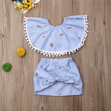 2019 Infant Kid Baby Girl One Neck Ruffles Tops + Bow Skirt