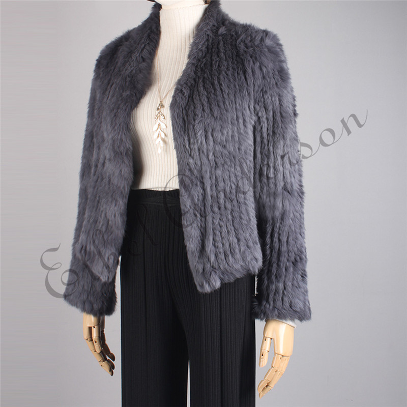 Ethel Anderson Women Real Rabbit Fur Coat Knitted Fur Jacket Waist-Length Short Cardigan Causal Outwear Full Sleeve Pretty