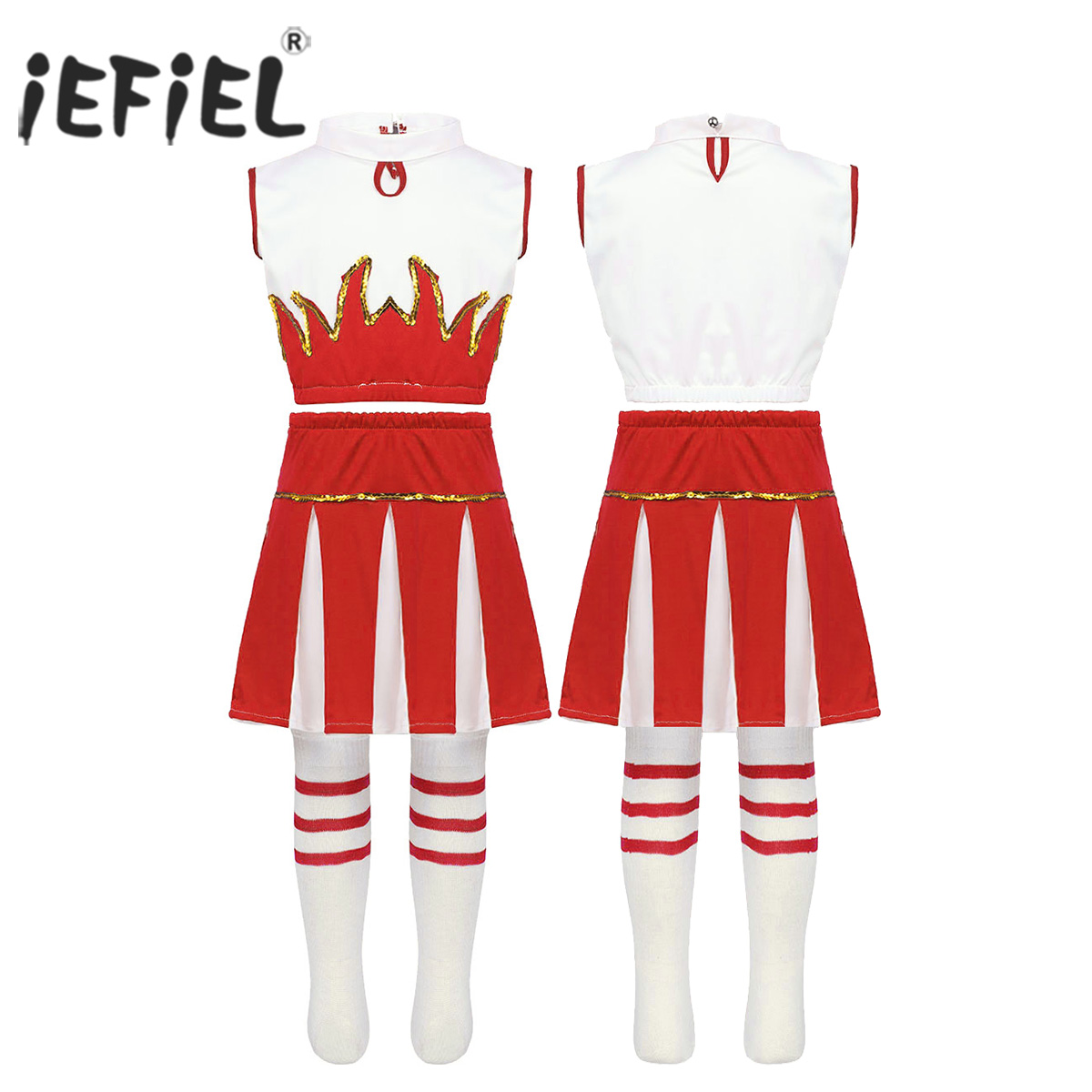 Kids Girls Cheerleader Costume Ballerina Sleeveless Crop Top with Skirt and Socks Set for Cosplay Party Ballroom Dancewear
