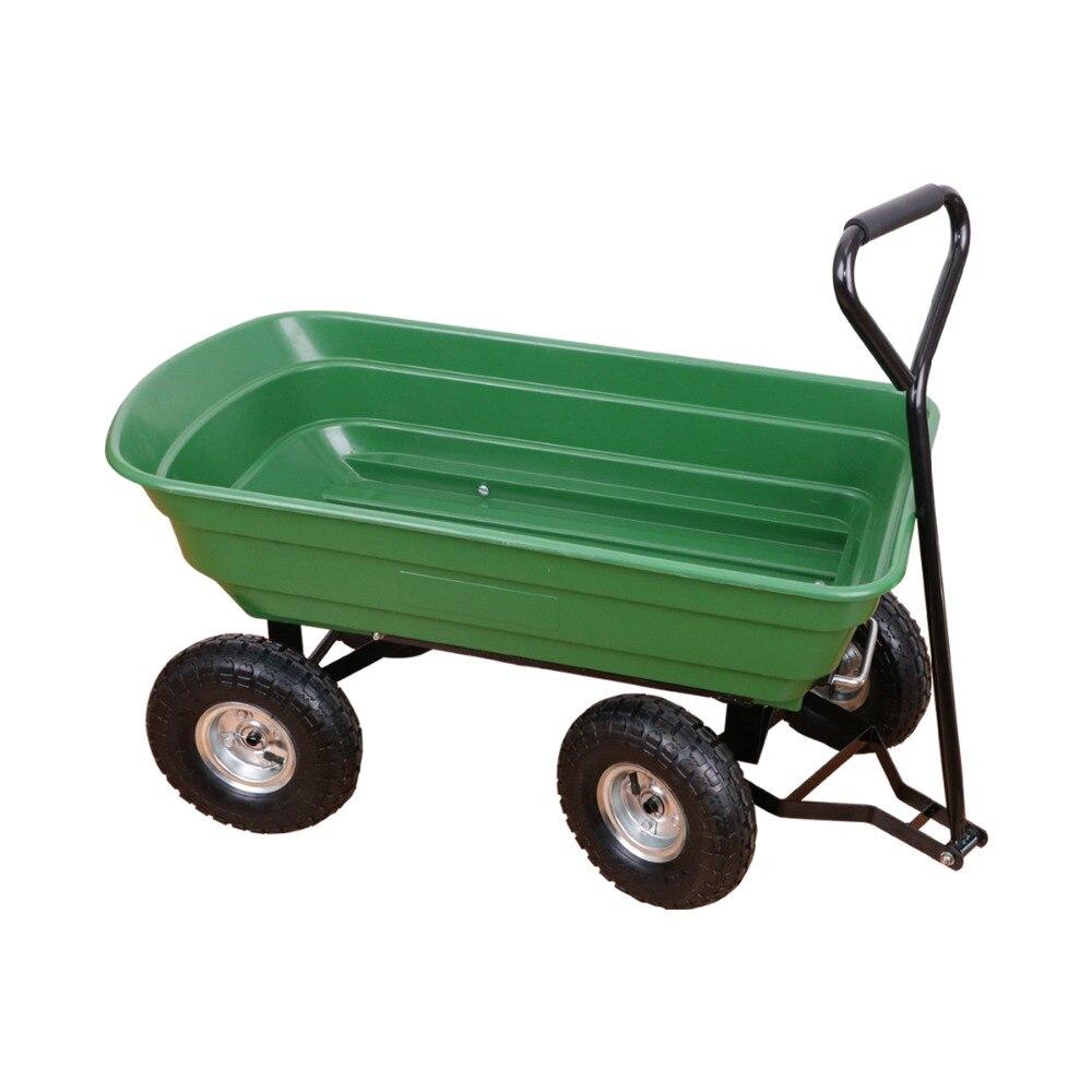 Jardim Carrinho de Despejo Vagão Transportador com Aço fazer vários tipos diferentes de alto peso Quadro Pneumático 650 lb Capacidade de trabalho Verde