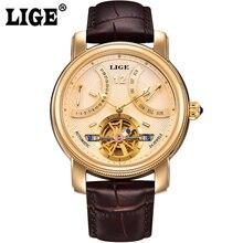 2016 marca de lujo LIGE hombre automático reloj de moda Casual impermeable relojes hombres calendario oro del cuero del reloj del relogio masculino