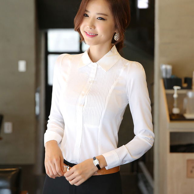 Spring And Autumn White Blouse Work Wear Occupational Office Women Shirts Plus Size S 3xl