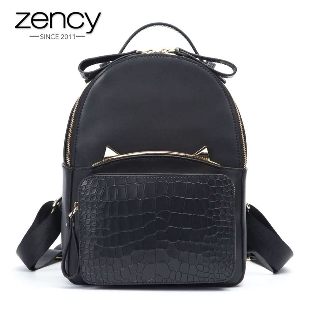 Zency Noir De Mode sac à dos pour femme 100% En Cuir Véritable Plus Compartiment Voyage À Dos Fille de Portable Cartable Voyage Sacs
