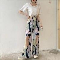 2019 Vintage Beach Long Pant Suit Summer Women White T Shirt High Waist Wide Leg Trousers Two Piece Set