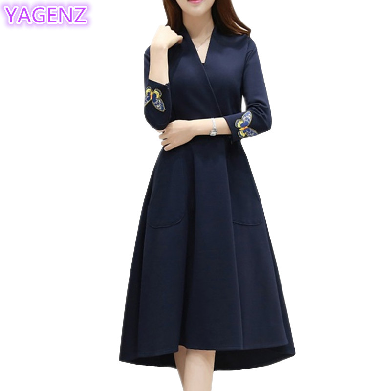 YAGENZ Fashion Elegant Dress Butterfly Broderi Kjoler Pluss - Kvinneklær - Bilde 1