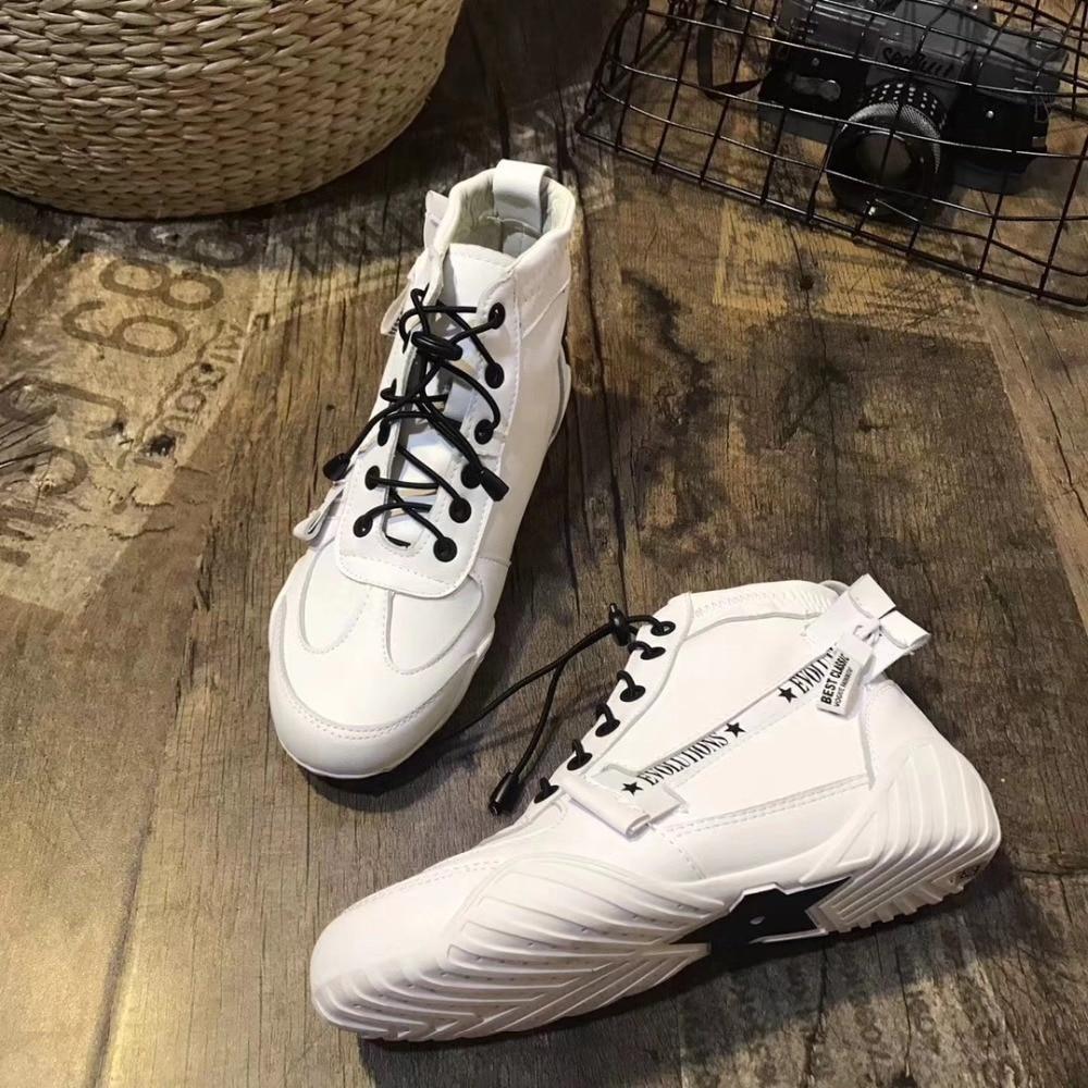 Mode Rayé Sneakers Dame Femmes Appartements Noir Marque Casual Femelle De Blanc Top Élastique Chaussures Chaussure blanc Jookrrix High Bande 2018 FAZwPP