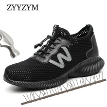 ZYYZYM Men Work Safety Shoes Summer Ventilation Outdoor Steel Toe Puncture Proof Protective Plus Size