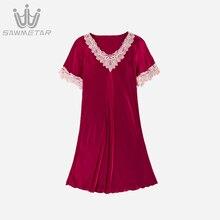 Women Sexy Night Dress Lady Summer Satin Lace Sleepwear Hot Sell Short Sleeve Silk Nightgown 2019 New Style Sexy Nightwear